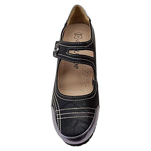 Medio Hebilla Negro Dama Línea Boutique Botón Zafiro Spiral Cuña Cuero Zapatos Up de de Charol ERpnAq