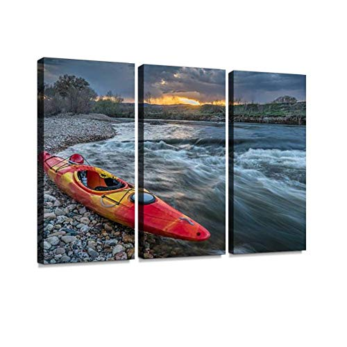 BELISIIS Whitewater Kayak at Sunset Wall Artwork Exclusive Photography Vintage Abstract Paintings Print on Canvas Home Decor Wall Art 3 Panels Framed Ready to Hang ()