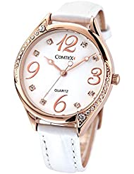 Comtex Womens Watches Quartz with White Leather Strap Rose Gold Case Fashion Ladies Wrist Watch