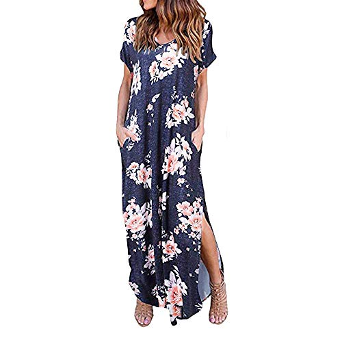 Women's Casual Loose Pocket Long Dress Short Sleeve Split Maxi Dresses Summer Beach Long Dress by Chaofanjiancai Navy ()