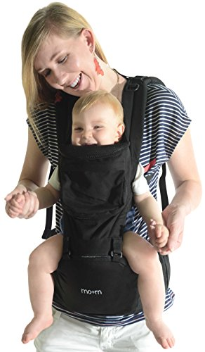 Mo+m Hip Seat Baby Carrier – 4 Way Sling for Babies to Toddlers – Ergonomic Seat, Mesh Cooling Window, Hood, Storage Pocket & Bottle Pouch