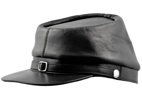 (Sterkowski Genuine Leather Secession Kepi Civil War Cap US 7 3/4 Black)