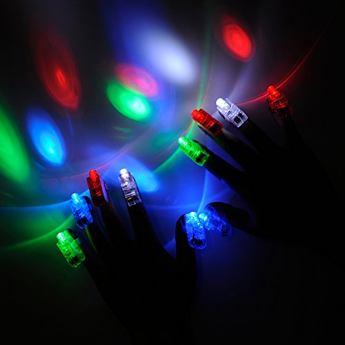 LED Finger Light, Amazer 100 Pack Bright Fingers Lights Party Favors Christmas Birthday Light up Toys for Kids Adults Assorted Color (Children's Party Ideas Entertainment Christmas)