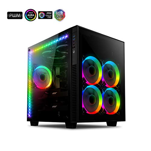 Anidees AI Crystal Cube AR V3 Dual Chamber Tempered Glass EATX/ATX PC Gaming Case with 5 RGB PWM Fans / 2 LED Strips - Black AI-CL-Cube-AR3