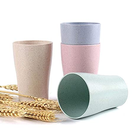 Noodle 30 oz for Cereal Ice Cream Snacks Biodegradable Lightweight Natural Wheat Straw Bowl Coloful Set of 4 Salad Soup Unbreakable Durable Eco Wheat Straw Pulp Fiber Fruits Prota Desserts