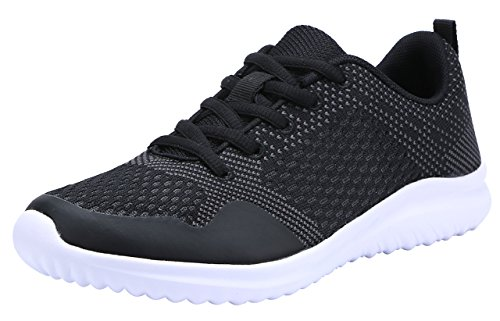 COODO Women's Athletic Shoes Casual Breathable Sneakers Black/Dk.grey