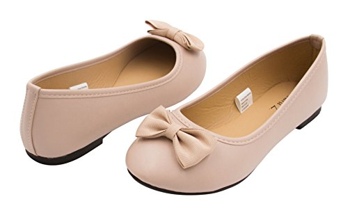 Sara Z Girls Leather Look Ballet Flat Slip On Solid Color with Grosgrain Bow for All Occasion Versatility, Nude, Size (Flats For Girls)