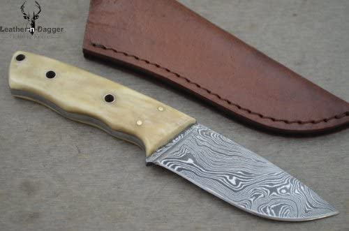 Christmas Gift by Leather-n-dagger Professional Custom Handmade Damascus Steel Hunting Knife LD106
