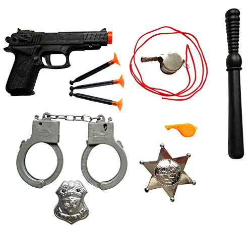Imprints Plus Police Dress Up Costume Accessories Includes a Toy Gun with 3 Suction Tip Darts, Plastic Handcuffs and Billy Club, 2 Clip On Badges and 2 Whistles (10-Piece Bundle) -