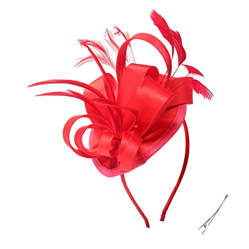 Felizhouse Fascinator Hats For Women Ladies Feather Cocktail Party Hats Bridal Headpieces Kentucky Derby Ascot Fascinator Headband (red)