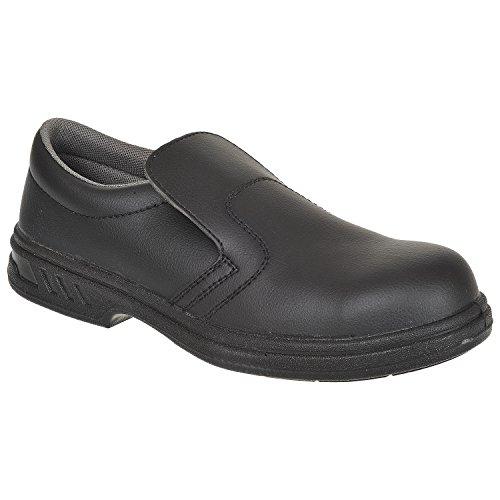 FW81 Portwest color Nero de S2 Bkgr Nero seguridad Slip talla 37 Zapato On Blanco dqfx6gq