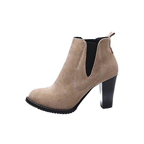 Round PU High AgooLar Heels Boots Pull Women's On Toe Beige Solid wqTpSO