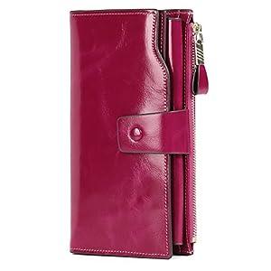 Demon&Hunter Portafoglio Donna Grande Pelle RFID Portamonete Donna Borsa Clutch Portamonete in Pelle con 21 Scomparti… 10