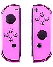 eXtremeRate Hülle für Nintendo Switch,Gehäuse Schale Case Cover Hülle Tasche Kit für Nintendo Switch Joycon Controller mit vollständige Tasten(Chrome Pink)-Keine Console Hülle