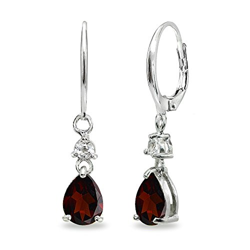 Sterling Silver Garnet & White Topaz 8x6mm Teardrop Dangle Leverback ()