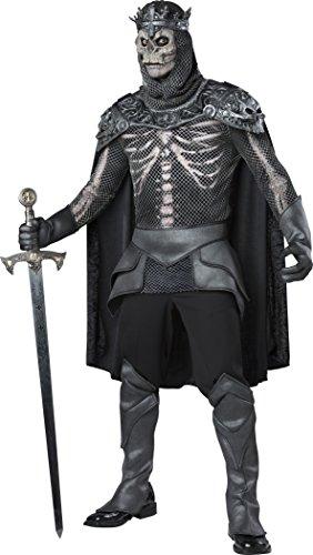 Knight King Costume (Fun World Men's Skeleton King, Grey/Black, XL)