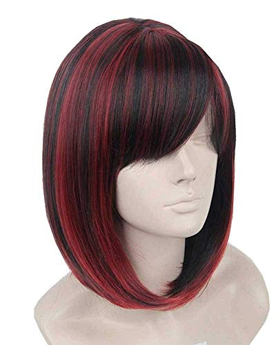(Topcosplay Womens Bob Hair Wigs Short Vampire Wig Cosplay Halloween Costumes Wig Black)