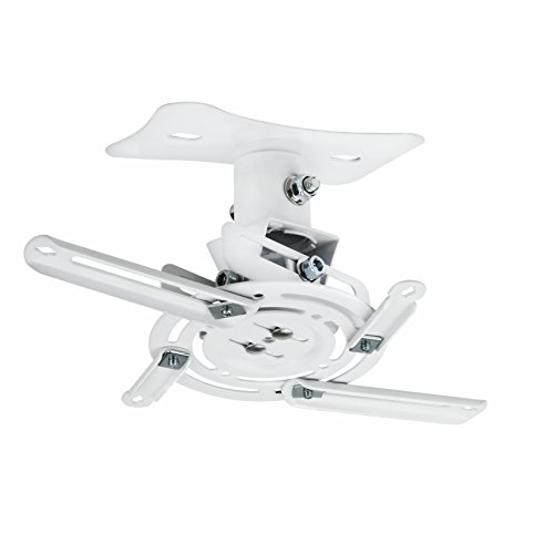 Universal Adjustable White Ceiling Projector Mount Extending Arms Mounting Bracket for 3 and More Than 3 Ceiling Holes Projector Use by NIERBO