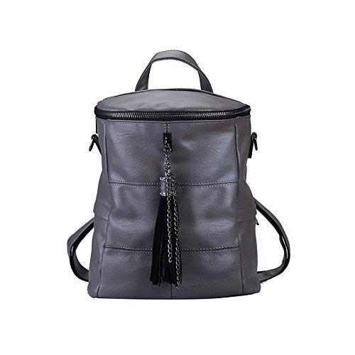 Women Leather Ladies School Shoulder Bag Backpack Rucksack Washed Grey Purse rxIPrtqR
