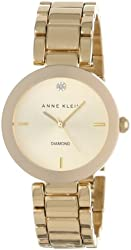 Anne Klein Women's AK/1362CHGB  Diamond Dial Gold-Tone Bracelet Watch