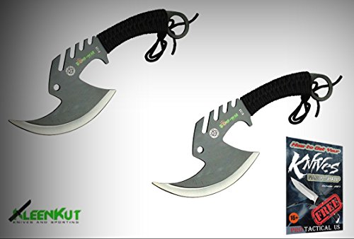 2 Pc 11.5'' Tactical Throwing Axe Set Tomahawk Hatchet Knife Zombie Survival + free eBook by ProTactical'US by new