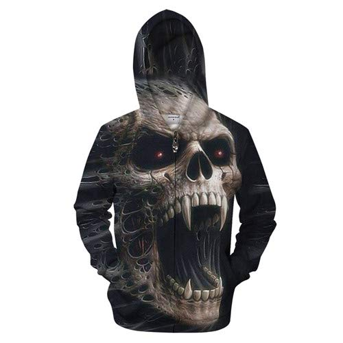 Ai Ya-weiyi 3D-Zipper Hoodie Men Zip Hoody Schädel Trainingsanzug Casual Sweatshirt Longsleeve Mantel Streatwear Pullover