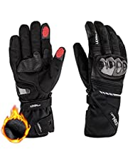 LEXIN LX-W1 Winter Motorcycle Gloves for Men Women, Touch Screen Motorcross Leather Gloves, Waterproof Motorbike Riding Gloves with Hard Knuckle for Snowmobile Ski ATV Dirt Bike,X-Large