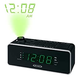 Jensen Compact AM/FM Time Projection Dual Alarm Clock Radio with Large Easy to Read Backlit LED Display