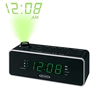 jensen compact am fm time projection dual alarm clock radio with large easy to read. Black Bedroom Furniture Sets. Home Design Ideas