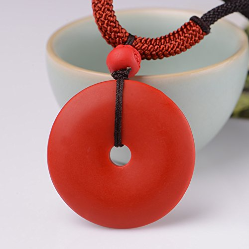usongs Taiwan origin natural cinnabar large necklace pendant peace buckle opening mascot men and women pray for security and peace