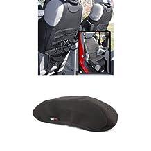 Rugged Ridge 13235.20 Black Neoprene Front Seat Protector - Pair + Rugged Ridge 13108.01 Black Neoprene Center Console Armrest Pad for Jeep Wrangler JK Bundle