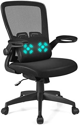 Giantex Mesh Ergonomic Desk Chair w Portable Massage Lumbar Pillow and Flip up Cushioned Armrests, Swivel High Back Mesh Computer Chair, Adjustable Height Drafting Stool Black
