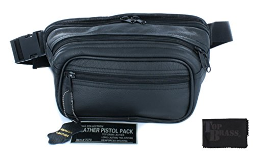 Roma Leather Medium Pistol Concealment Fanny Pack - Concealed Carry Gun Pouch with Holster and Top Brass Gun Cloth