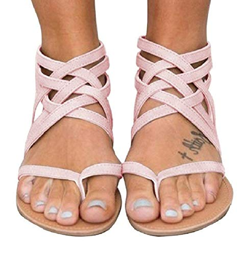 Blivener Women's Casual Gladiator Sandals Summer Zipper Strappy Thong Flats Shoes PINK38 (Sandals For Women Ankle)