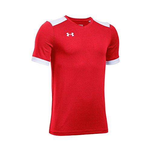 (Under Armour Boys' Threadborne Match Jersey, Red (600)/White, Youth)