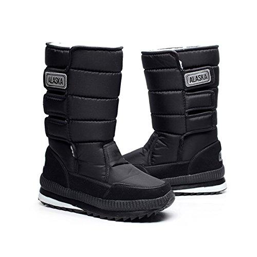Chnhira Unisexes Couple Imperméable À Leau Chaude Extérieure Velcro Neige Bottes Noir