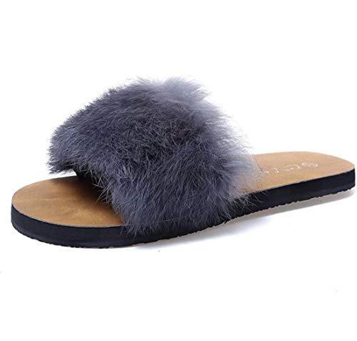 Home Fashion Plush Slippers Gray Casual Shoes Shoes DANDANJIE Women's Outdoor FxP0II