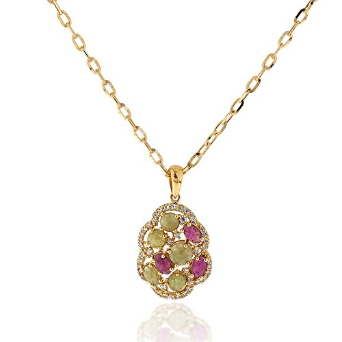 - Gioiello Italiano - Yellow gold necklace with green agate and pink sapphire