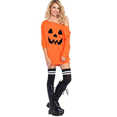 Hot Sale!Women Dress,Canserin 2017 Women's Cold Shoulder Pumpkin Costume Dress Halloween Long Sleeve Fancy Mini Dress (L, Orange)