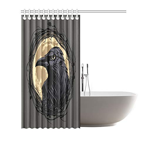 RYUIFI Home Decor Bath Curtain Black Raven Twig Frame On Moon Polyester Fabric Waterproof Shower Curtain for Bathroom 7272 Inch Shower Curtains Hooks Included