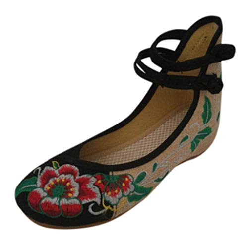 Toimothcn Embroidered Canvas Shoes Women Vintage Ankle Double Strap Ethnic Shoes (Black,US:7)