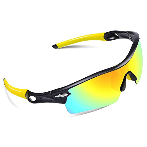 OBERLY S02 Polarized Sports Sunglasses with 4 Interchangeable Lenses for Men Women Cycling Baseball Golf Fishing Driving - Sunglasses Sports Optics