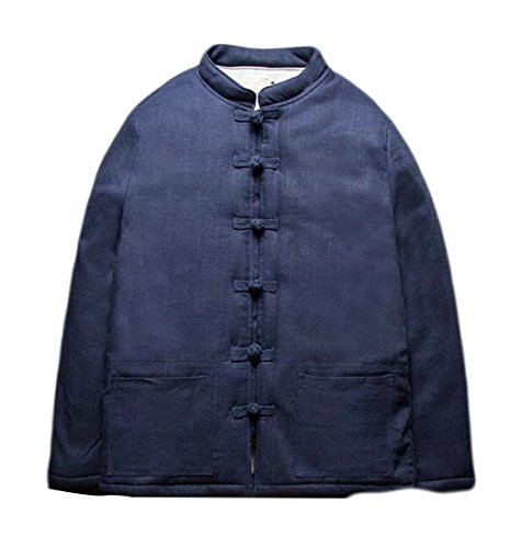 blue Men's Solid Style Quilted Chinese Navy Brd Jacket Color Hot Down Frog Padded Thicken UK Button 8nZxpU