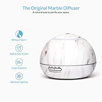 Hathaspace Marble Essential Oil Aroma Diffuser, 350ml Aromatherapy Fragrance Diffuser & Ultrasonic Cool Mist Room Humidifier, 18 Hour Capacity, BPA-Free, 7-Color Optional Ambient Light