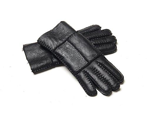 YISEVEN Men's Shearling Sheepskin Winter Gloves,Black,8.5