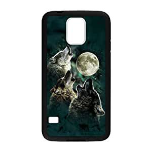 Samsung Galaxy S5 Case,Cool Howling Wolf And Moon & Beautiful Starry Sky Of Night Design Cover With Hign Quality Rubber Plastic Protection Case