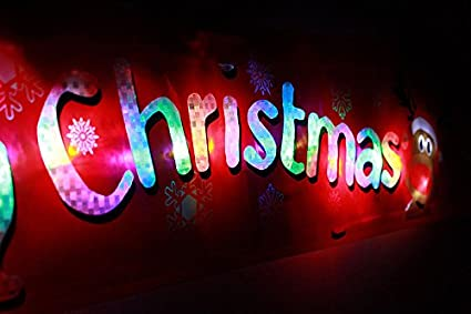 New Flashing Led Light Up Led Merry Christmas Xmas Hanging Window