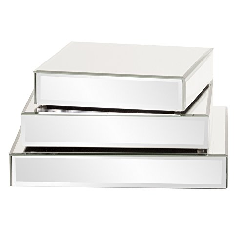 Howard Elliott Square Mirrored Product Display Platform Riser, 3 Piece (Howard Elliott Collection)