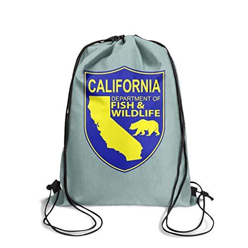 DSFSDCD California Department of Fish and Wildlife Logos Men & Women Unique School Drawstring Backpack Sinch