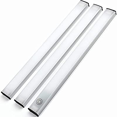 Led Under Cabinet Lighting Touch Control,Dimmable Undermount Light Bar Kit,for Shelf,Kitchen,Closet,12W 1200 Lumen,3 Pack Linkable Light Strips,4000K Natural White
